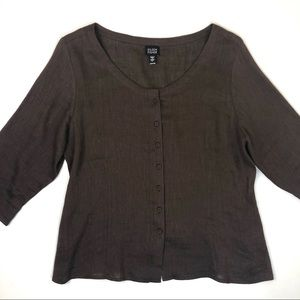 Eileen Fisher Brown Button Up Top 3/4 Sleeves L